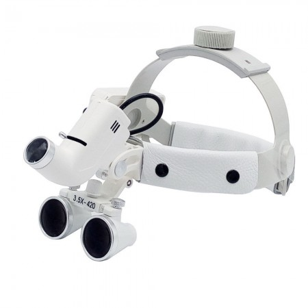 3.5X Bandeau dentaire Loupes binoculaires médicales + LED Phare