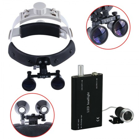 3.5X 420mm Loupe binoculaire chirurgical dentaire bandeau en cuir + LED Lampe frontale dentaire