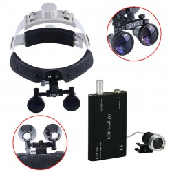 3.5X 420mm Loupe binoculaire chirurgical dentaire bandeau en cuir + LED Lampe fr...